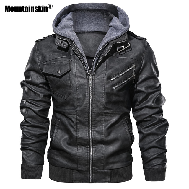 Mountainskin New Men's Leather Jackets Autumn Casual Motorcycle PU Jacket Biker Leather Coats Brand Clothing EU Size SA722 5