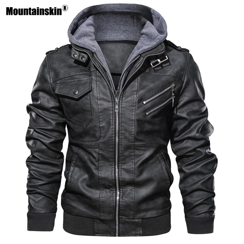 Alpinskin 2019 nouveaux hommes vestes en cuir automne décontracté moto veste en cuir synthétique polyuréthane Biker manteaux en cuir marque vêtements EU taille SA722 - 5