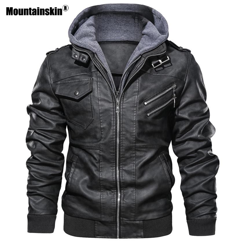 Clearance SaleMountainskin Jacket Biker Coats Motorcycle Brand-Clothing Men's Casual New Autumn PU