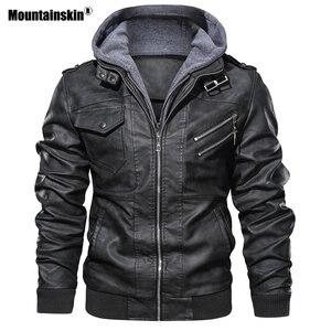 Image 5 - Mountainskin חדש גברים של מעילי עור סתיו מזדמן אופנוע PU מעיל עור אופנוען מעילי מותג בגדים האיחוד האירופי גודל SA722