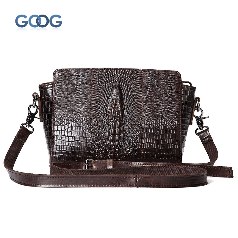 New retro tide fashion crocodile pattern shoulder shells head layer oil wax leather bag leisure business Messenger bag handbags