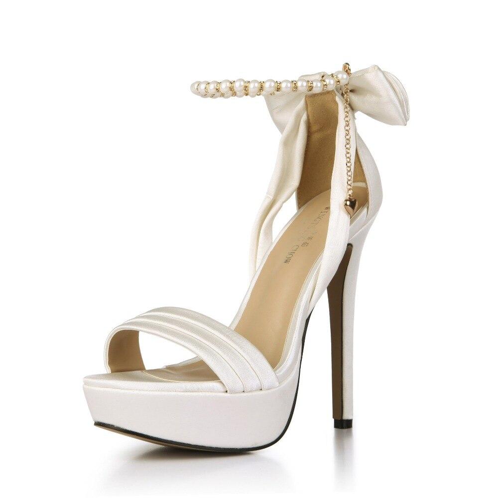 14cm womens open toe shoes high-heeled platform sandals ladies sweet satin bowtie chain beading ultra high heels peep toe shoes