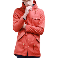 Preppy Style Orange Jacket Hoody Jacket Men Fashion Men Hoodies Casual Multi Pocket Long Length Mens