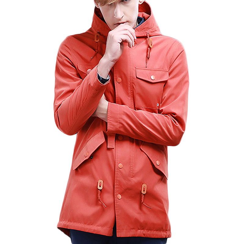 Preppy style orange jacket hoody jacket men fashion men hoodies casual multi pocket long length mens fashion quality jacekt ...