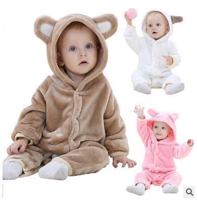 Menina Roupa do bebê Outono Inverno Roupas de Bebê Menino babyJumpsuit Animal Dos Desenhos Animados Com Capuz de Flanela animal Macacão de Bebê Roupas de Bebê