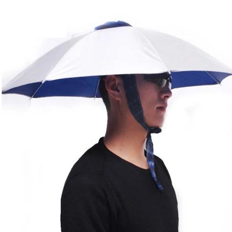 Foldable Sun Umbrella Hat UV-Protection Fishing Hiking Headwear Beach Head Cap