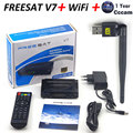 Satellite TV Receiver decoder Freesat V7 HD DVB-S2 + V8 USB Wfi with 12 months Europe CCCam account support full powervu cccam