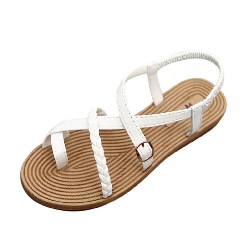 Women's Sandals Grass Woven Sole Flat Female Sandals Belt Buckle Cross-tied Sandals Casual Roman Sandals Sandalias Mujer 2019