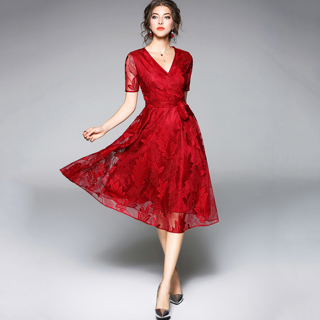 Tanpell v neck cocktail dress burgundy short sleeves lace tea length a line gown women party prom see through cocktail dresses