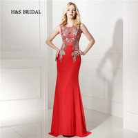 H S Bridal Gold Appliques Red Mermaid Women Formal Evening Gowns 2017 New Arrival Real Illusion