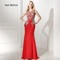 H & S Bridal Gold Applicaties Rode Mermaid Vrouwen Formele Avondjurken 2017 Nieuwe Collectie Real Illusion Avond Prom Jurken