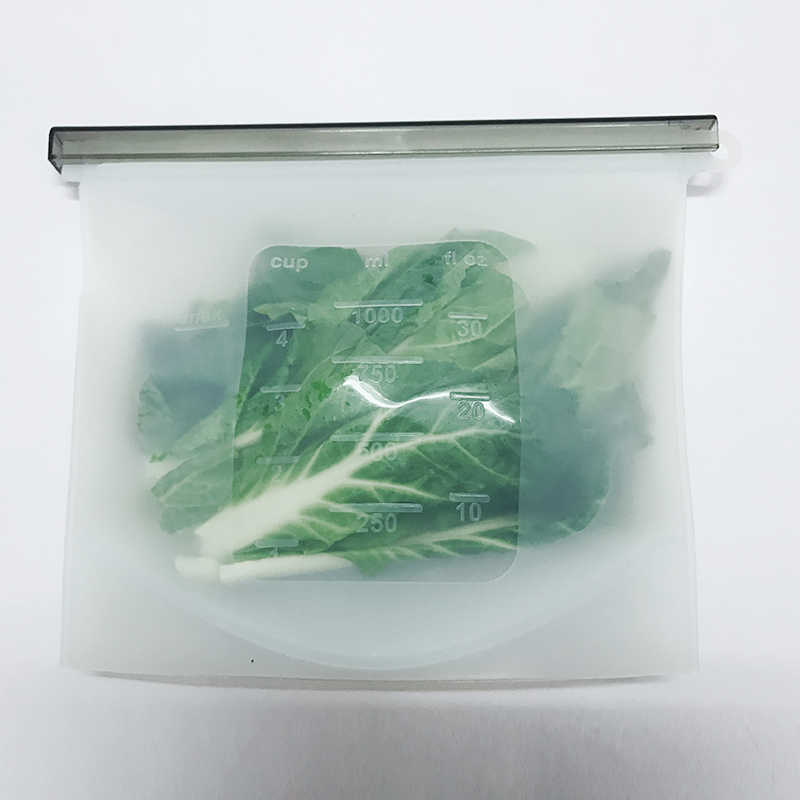 1PCS 1000Ml Reusable Silicone Food  Bags Ziplock Bag Best For Preserving And Cooking Sandwich Sous Vide Liquid Snack  Fruit Seal