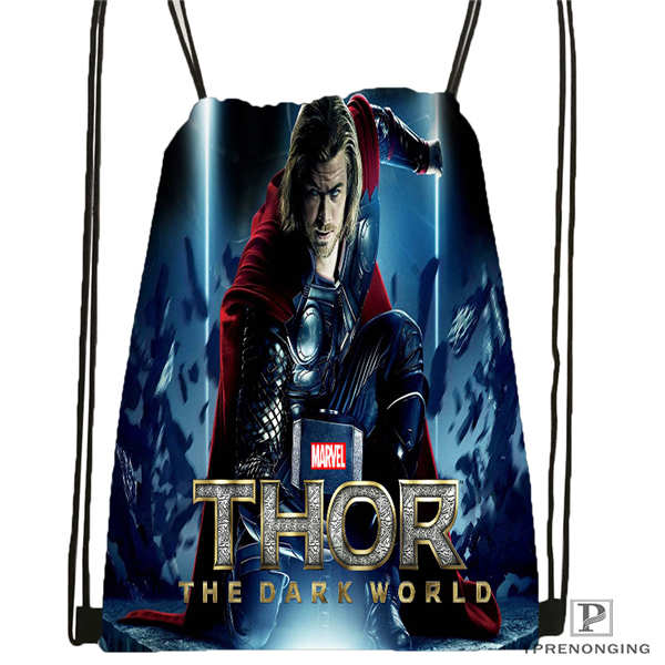 Custom Marvel Thor Drawstring Backpack Bag Cute Daypack Kids Satchel (Black Back) 31x40cm#2018612-02-14