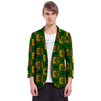 African Clothing Custom Made Ankara Blazer African Men Suit/Blazer Fashion Three Quarter Sleeve Men's Party Suit Jacket