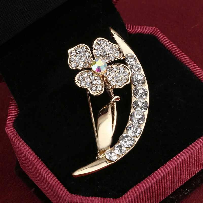 卸売クラシックゴールドブローチクリスタル動物花ブローチピン金属スカーフピンクリスマスギフト宴会結婚式アクセサリー