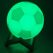 3D Magical Football Lamp Rechargeable Color Table Desk Soccer Ball Lamp With Wooden Stand Night Lights For Children's Day Gift(China)