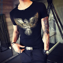 2017 Summer New High-End Men's Brand T-Shirt Fashion Slim Gold Dragon Printing T Shirt Plus Size Short-Sleeved Tee Shirt Men