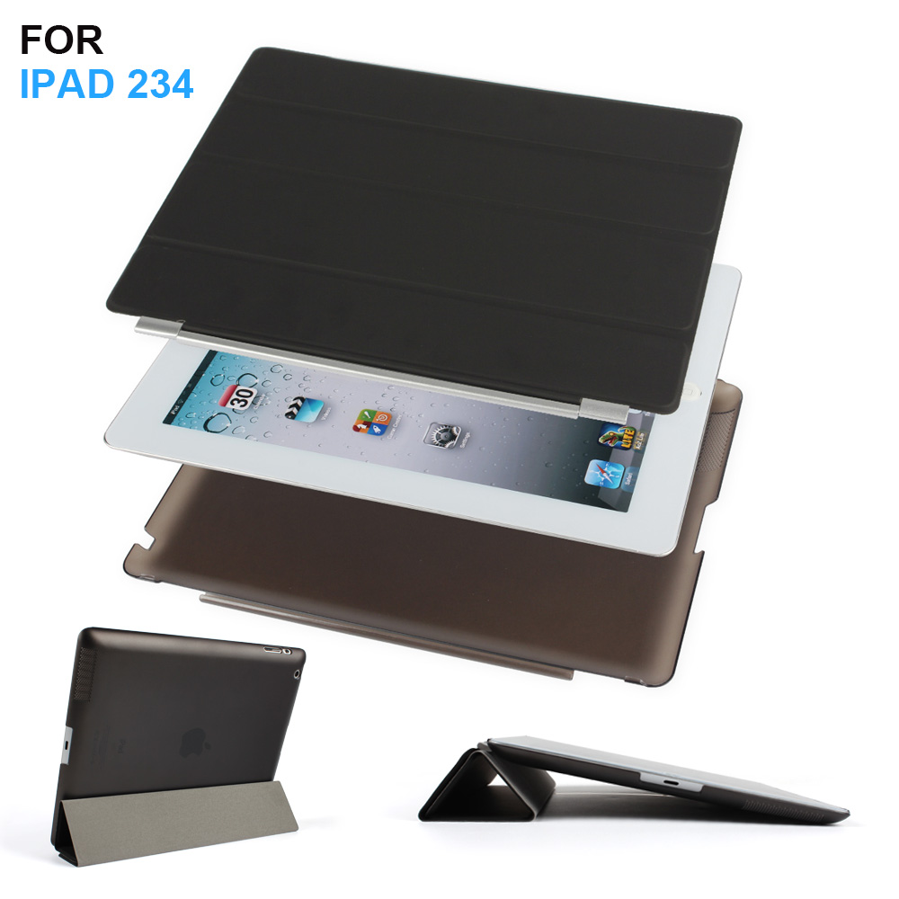 Batianda Ultra Thin PU Leather Slim Magnetic Folding Front Smart Cover Skin + Hard PC Shell Back Case For ipad 2 3 4 ipad3 ipad4 стоимость