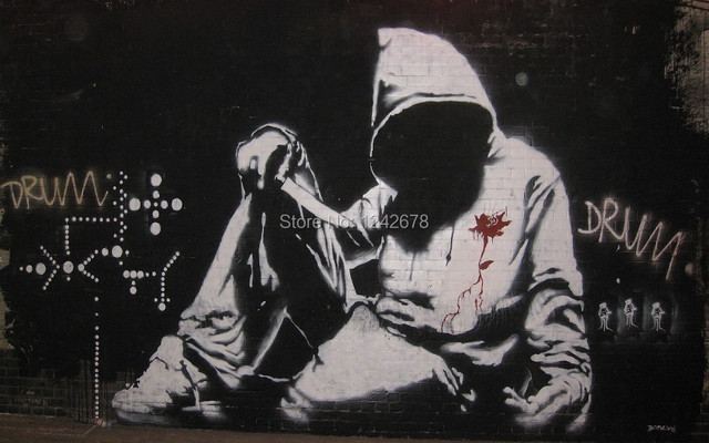 Banksy Graffiti Hoodie Oil Painting On Canvas Abstract Street Art Wallpaper Home Decor Collectibles Wall