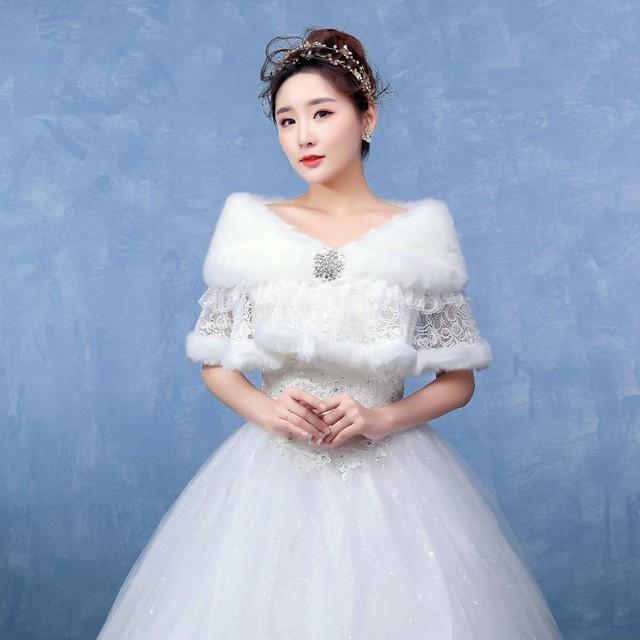 Frete Grátis Em Estoque Branco Cor Boleros De Pele Inverno Quente Jacket Casamento Do Laço Envoltório Casamento Xale Noite Com Strass Broche