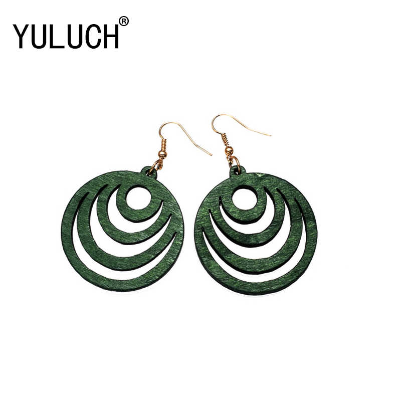 YULUCH 2018 NEW 4 Colors Natural Wood Pierced Vintage Pendant Earrings for Woman Art Simple Street Jewelry Girl Accessories