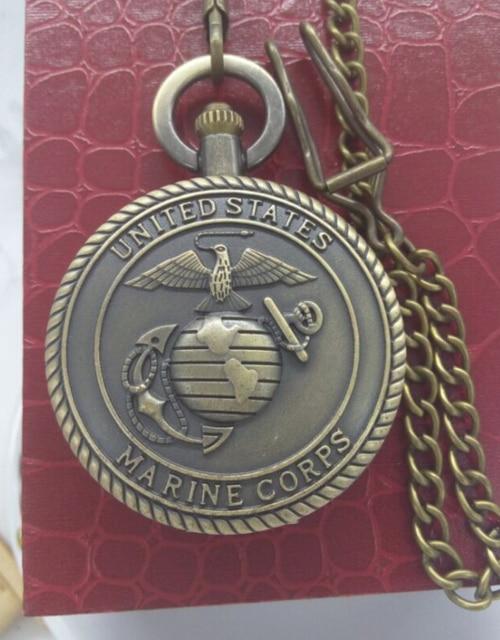 Vintage bronze the MARINE CORPS pocket watch pendant FOB chain Men\'s ...
