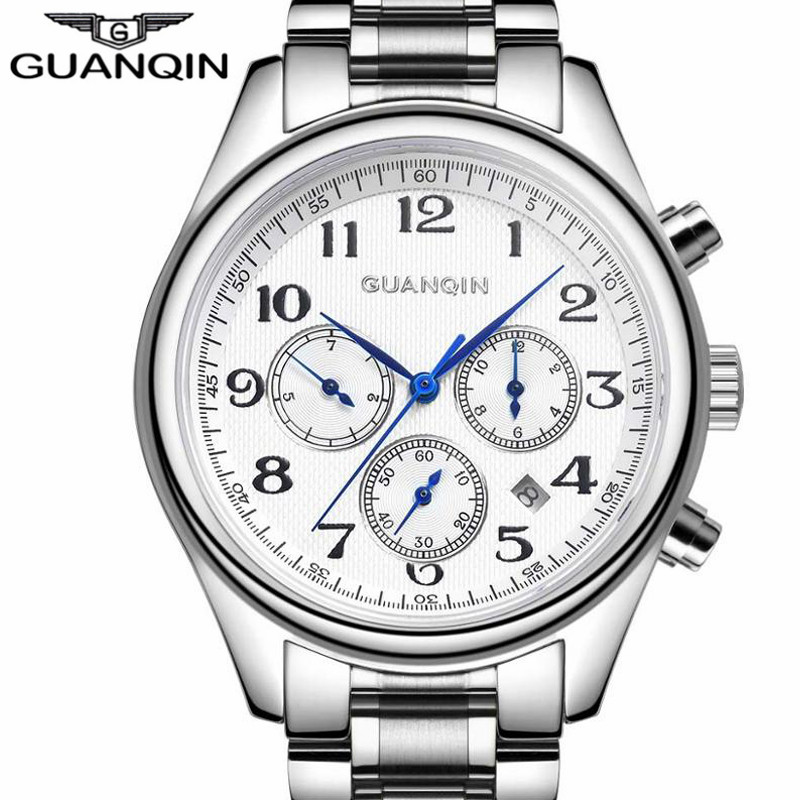 GUANQIN Automatic Mens Watches Week Month Date Fashion Mechanical Watch Men Top Brand Luxury Clock Better Gift Wristwatch forsining date month display rose golden case mens watches top brand luxury automatic watch clock men casual fashion clock watch