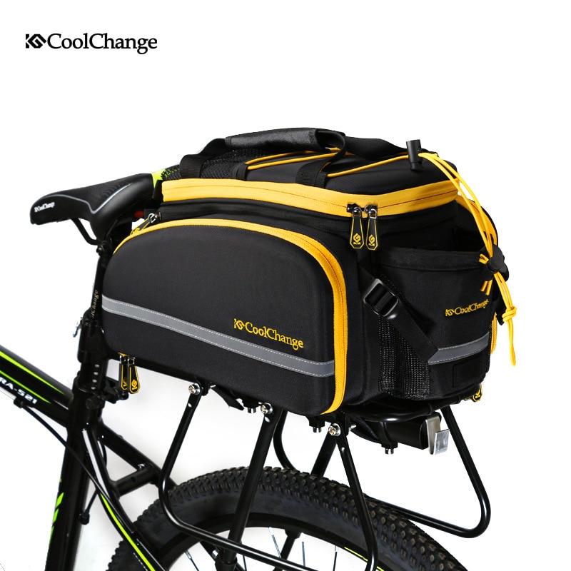 CoolChange Bicycle Bag Reflective Bike Bicycle Rear <font><b>Seat</b></font> Trunk Bag Cycling Carrier Bag Rack Panniers Waterproof With <font><b>Rain</b></font> Cover