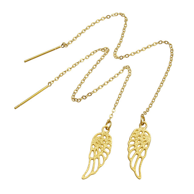 Yyw New Fashion Stainless Steel Thread Through Earrings Gold Color Hollow Wing Shape Charm Drop
