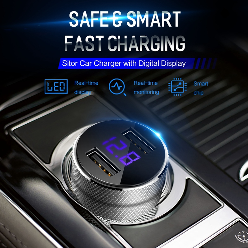 Image 2 - ROCK Mini Dual USB Car Charger LED Display Universal 3.4A Mobile Phone Tablet Fast Charging Usb Charger for Car 2 Usb Adapter-in Car Chargers from Cellphones & Telecommunications
