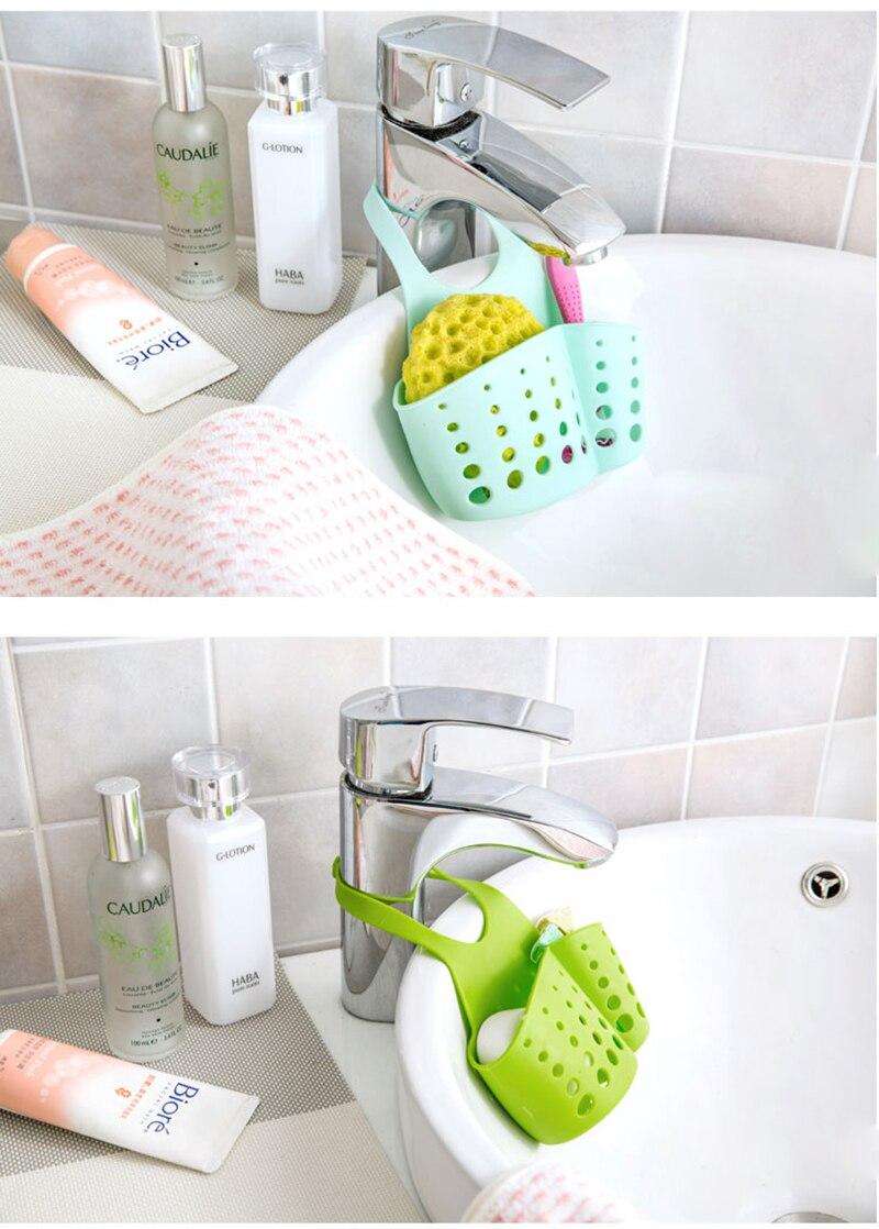 LIYIMENG Sink Shelf Kitchen Sponge Drain Holder Storage Bag Toilet Soap Shelf Organizer Rack Hanging Basket Double Hanging Hag Rack B3