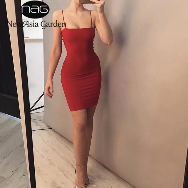 NewAsia Garden Double Layered Cotton Bodycon Dress Sexy Summer Dress Tank Sleeveless Party Dress Club Bandage Dresses Vestidos 2
