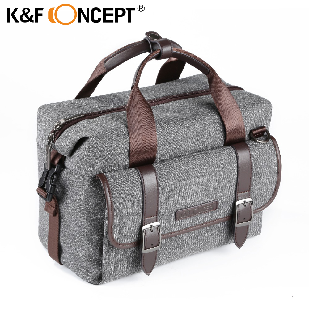 K&F CONCEPT Camera Bag DSLR Shoulder Bag M Size Waterproof Unisex Modern Casual Style Removable Divider Anti-slip Bottom Grey lowepro protactic 450 aw backpack rain professional slr for two cameras bag shoulder camera bag dslr 15 inch laptop