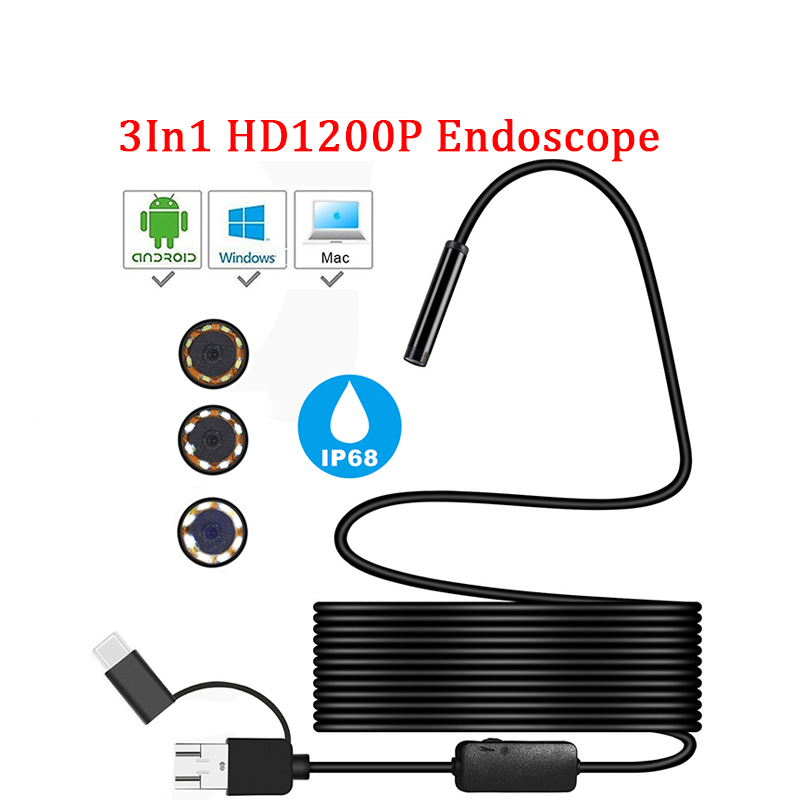 Mini cámara endoscopio HD 1200 P IP68 2 M duro tubo Flexible micro USB tipo-C endoscopio de inspección de vídeo para Android endoscopio