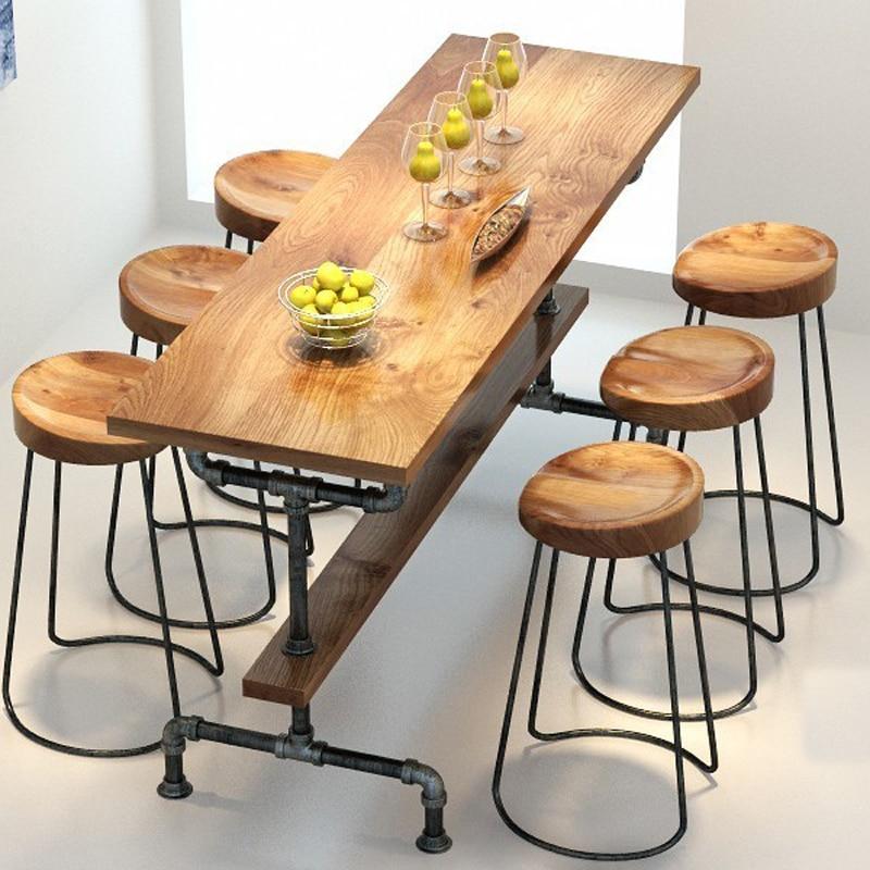 Деревня ретро мебель, Винтаж металлический стержень, лечения анти ржавчины, барный стул, 100% деревянные и металлический стол, бар, набор мебе