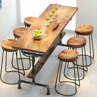 Деревня ретро мебель, Винтаж стол из металлических реек, антикоррозийная обработка, барный стул, 100% деревянный и металлический стол, набор б