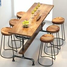 El pueblo de muebles retro, mesa de bar de metal Vintage, tratamiento antióxido, taburete de bar, mesa de madera y metal 100%, juego de muebles de bar