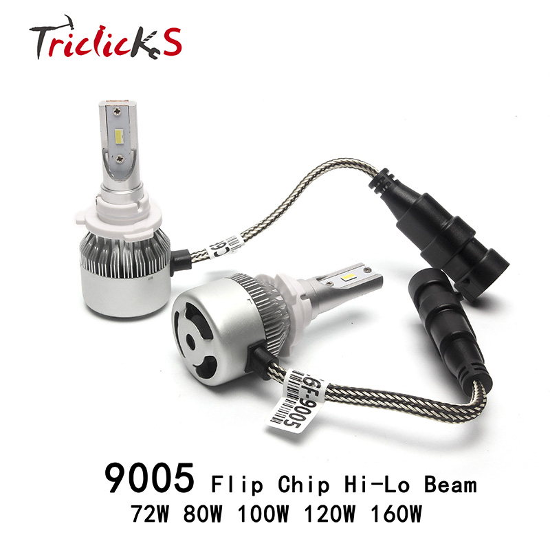 Triclicks 9005/HB3 DRL LED Headlight 72W 80W 100W 120W 160W Headlights Hi/Lo Head Light Bulbs Flip Chip Foglight Auto Car Lights  new h4 led cars headlights hi lo 25w auto led light bulbs lamp flip chip 2800lm 6000k white12v