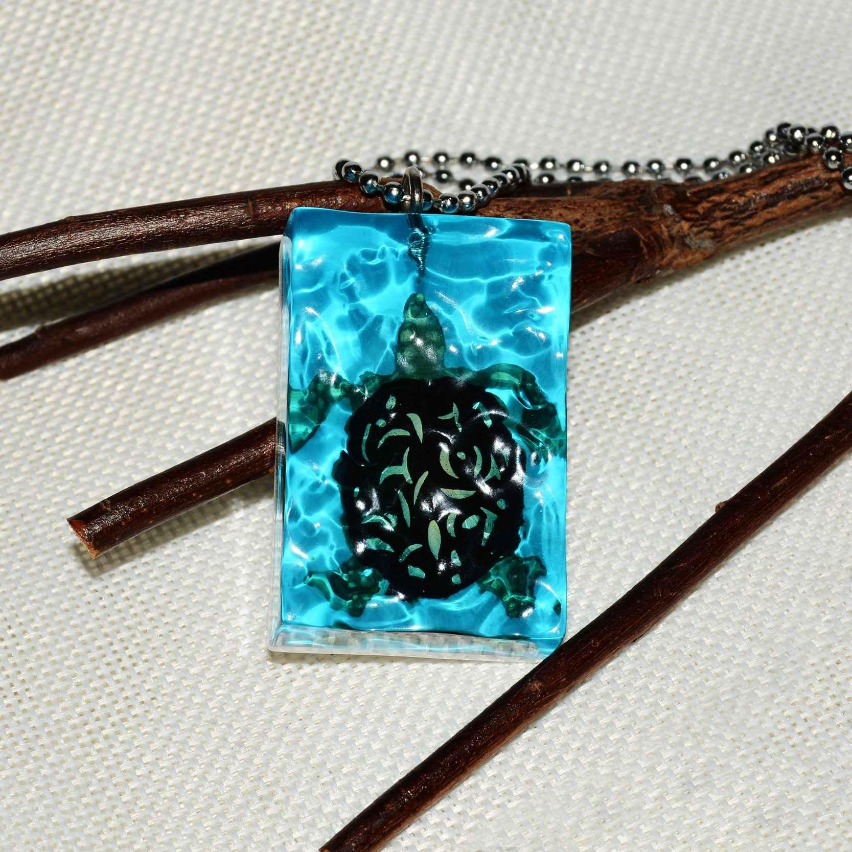 Sea DIY Handmade Jewelry Ocean Turtle Geometric Rectangular Resin Pendant Stainless Steel Chain Beads Necklace Men Women Gifts