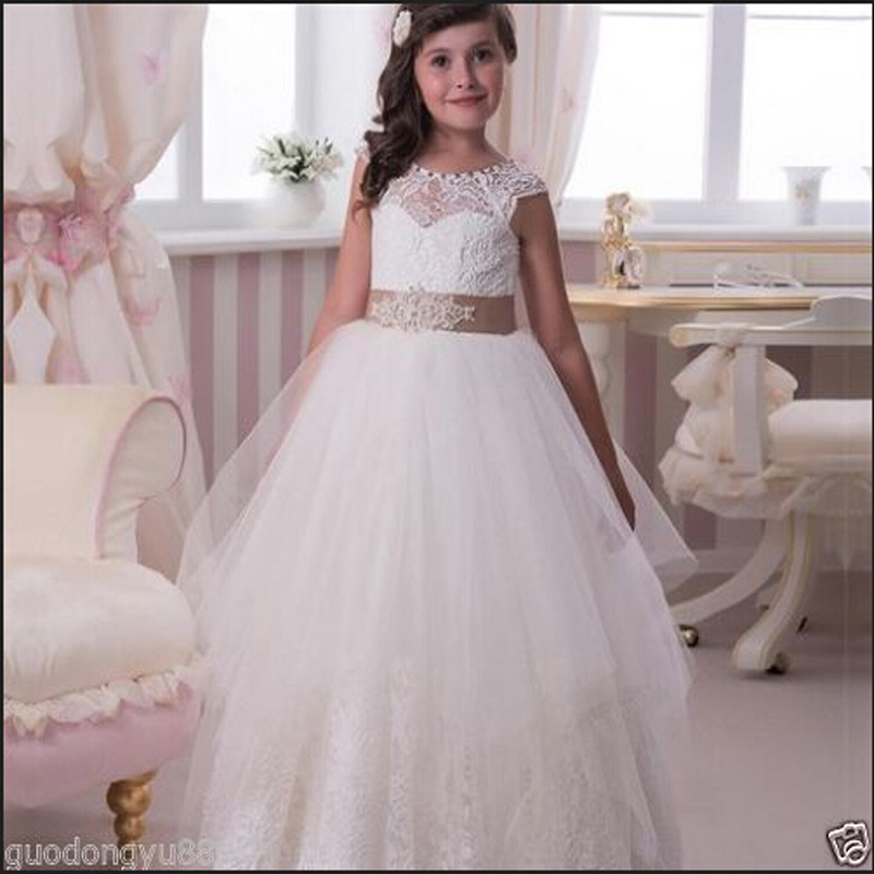 2015 New Princess Flower Girl Dresses with Sashes Ball Gown Party Pageant Dress for Little Girls Kids/Children Dress for Wedding