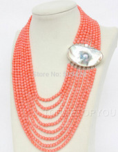 806 Free Shipping aaa0054++++Gorgeous! 8rows round pink coral necklace Mabe pearl(China)