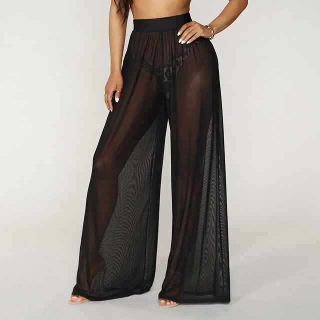 7abee2ba38 Women See Through Boho Wide Leg High Waist Trousers Beach Long Loose Mesh  Sheer Pants Hot-in Pants & Capris from Women's Clothing on Aliexpress.com  ...