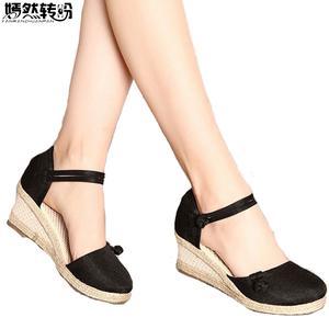 ae3222632 Vintage Summer Women Sandals Casual Linen Canvas Wedge Sandals Soft Ankle  Strap Med Heel Platform Pump Shoes Woman