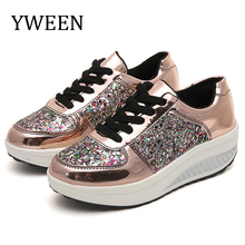 Купить с кэшбэком Big size Fashion women shoes height increasing summer sequined shine shoes woman lace-up soft casual  shoes flats women sneakers