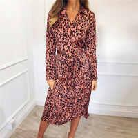 Femmes robe léopard 2019 Sexy Bandage fête robes longues Vintage à manches longues plage en mousseline de soie robe d'été robes de fiesta
