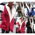 Jaqueta Feminina 2016 Winter Jacket Women Coats With Fur Hood Flocking Warm Jackets Fashion Long Parkas Mujer Army Green