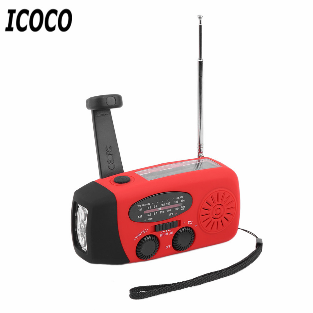 ICOCO 3in1 Portable Waterproof Emergency Charger Solar Hand Crank Self Powered LED Emergency Survival Flashlight AM/FM/WB Radio smuxi outdoor emergency hand crank solar dynamo radio portable am fm radios phone charger with 13 led flashlight emergency lamp