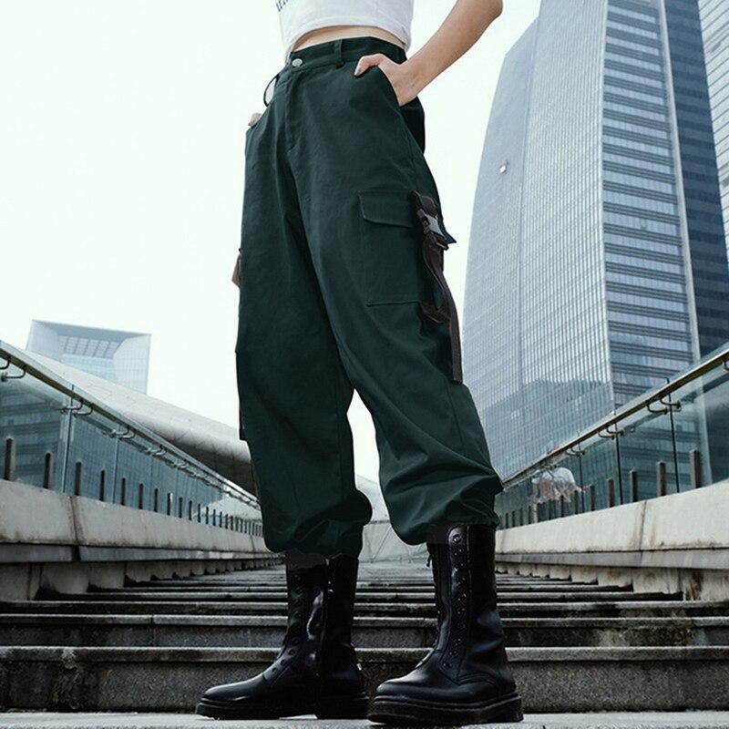 ADISPUTENT Streetwear Cargo Pants Women Casual Joggers Black High Waist Loose Female Trousers Korean Style Ladies Pants Capri 13
