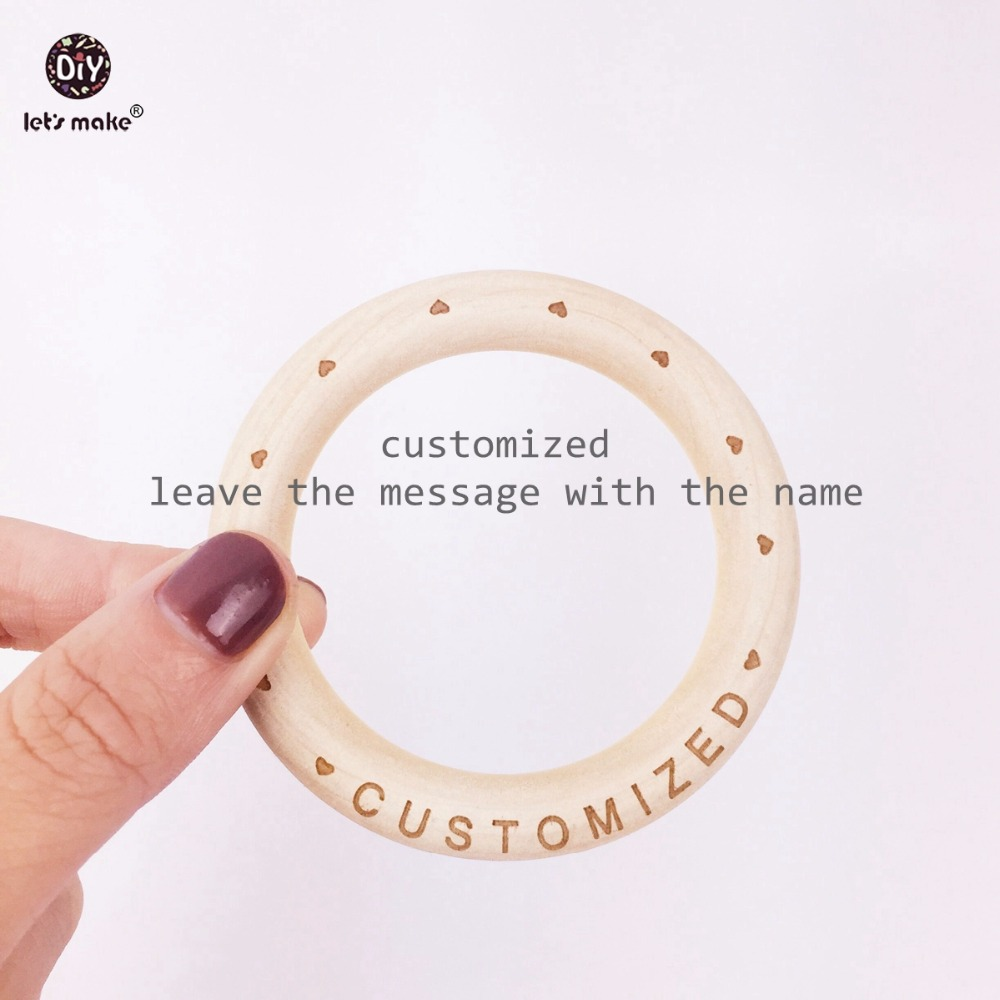 Let's Make Baby Wooden Ring 70mm Wooden Bracelet 20PCS Customized Wood Teether Natural Maple Baby Bracelet Teether for Baby (70mm)
