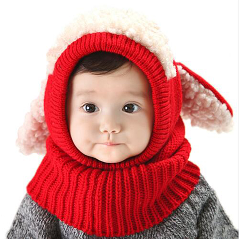 glittery sweet Christmas Baby Hats With Ears Newborn Beanie Knitted Caps Hooded Scarf Earflap Cap Warm Shawl Scarf Boy Girl Hat